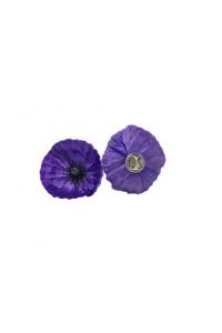 Silk Purple Poppy Lapel Pin